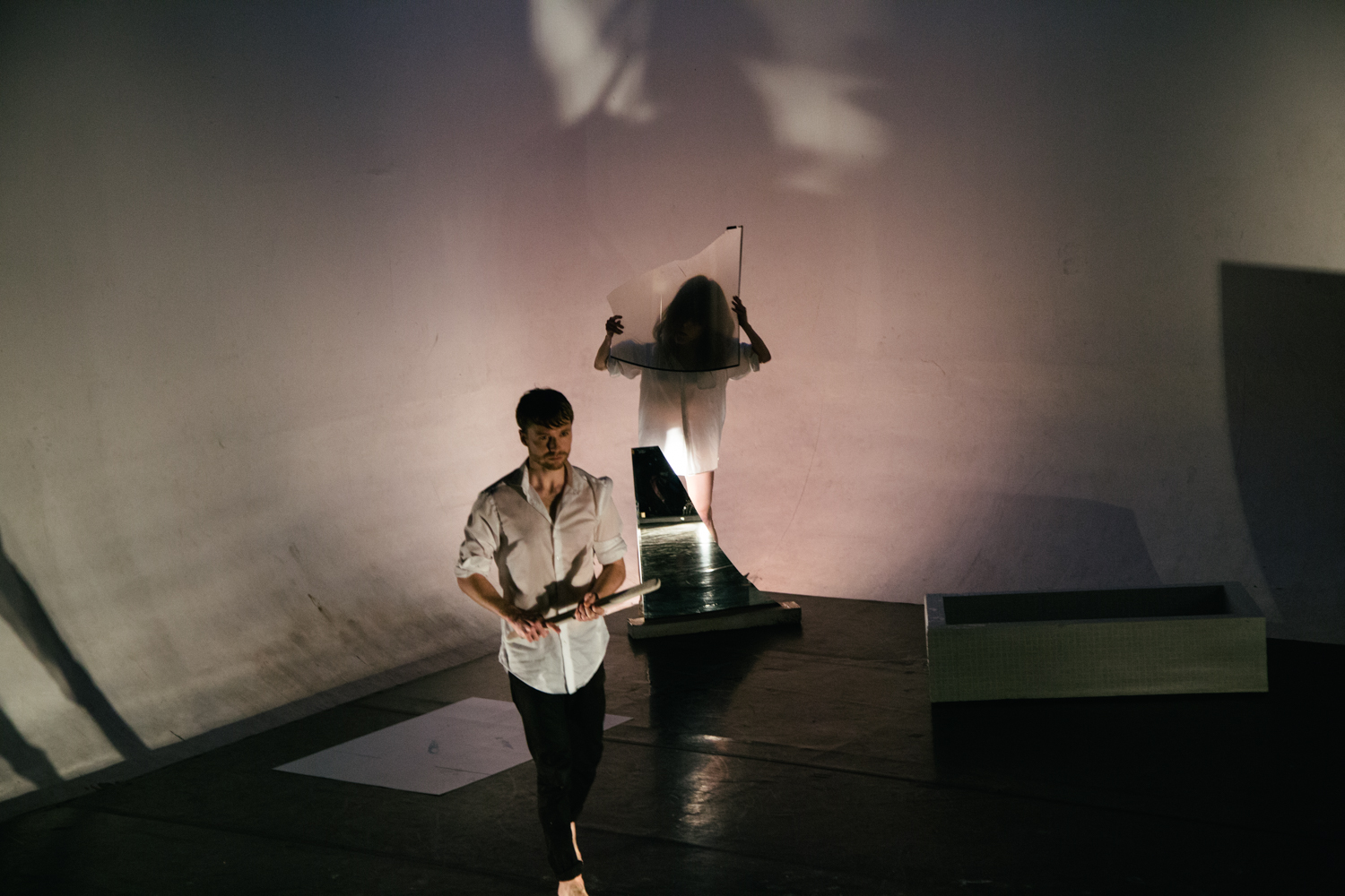 Josh Chong Photography | Synesthesia IV pt. 1 at Studio 5, pictured - Jonathan MacArthur (tenor), Jennifer Nichols (dancer, choreopgraher, co-direction) - Amanda Smith, dramaturgy & co-direction, Kathryn Frances Warner, art installation